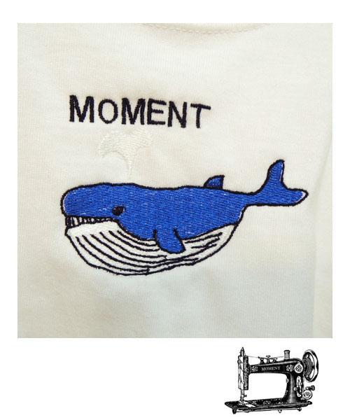 MOMENT モーメント WHALE 日時指定 emb Tシャツ 名入れ刺繍 90-160 女の子 クジラ 男の子 おしゃれ 子供服 半袖Tシャツ かわいい タイムセール