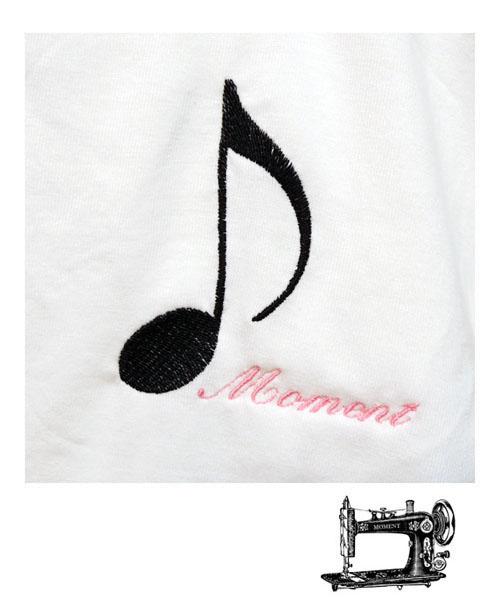MOMENT モーメント 音符 ※ラッピング 在庫処分 ※ emb Tシャツ 名入れ刺繍 90-160 半袖Tシャツ おしゃれ オンプ 男の子 子供服 女の子 かわいい