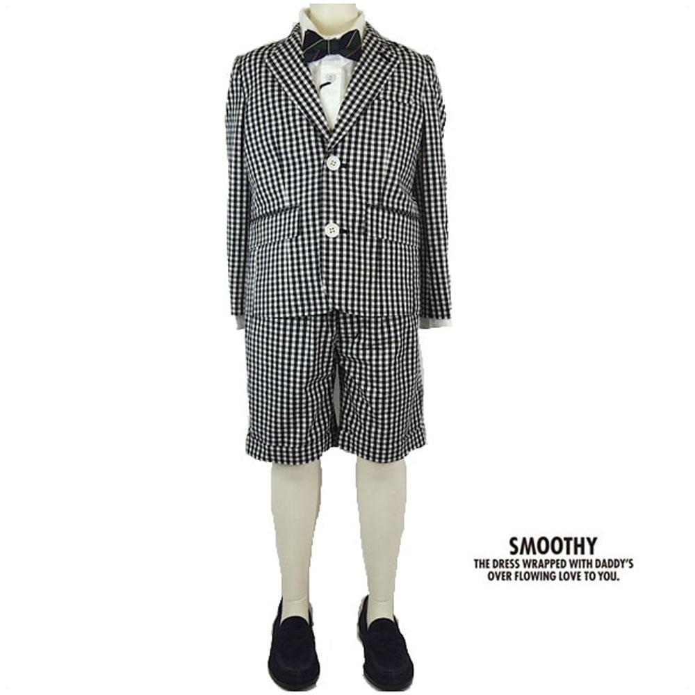 SMOOTHY(スムージー) ギンガムチェック セットアップ ショーツ(120-130) 入学式 卒業式 子供服 男の子 テーラードジャケット フォーマルスーツ 上下 おしゃれ