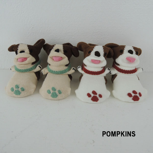 POMPKINS ポプキンズ いぬ 足型入りPOP UPソックス 9-12 アイテム勢ぞろい ドッグベビー 滑り止め 靴下 犬 ギフト 立体靴下 限定Special Price