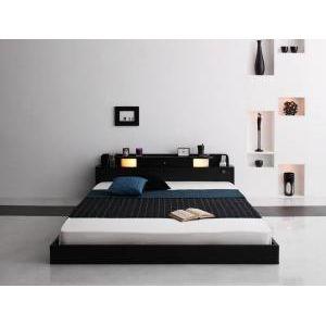 スタンダードボンネルコイルマットレス付きベッド【シングル】/照明付き コンセント付き フロアベッド ローベッド シングルサイズ
