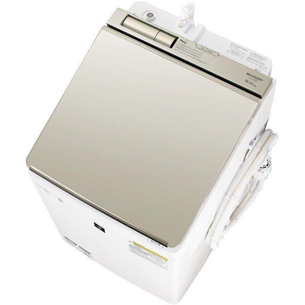 シャープ 洗濯機 ES-PW8Dシャープ SHARP ES-PW8D-N タテ型洗濯乾燥機 洗濯8.0kg 乾燥4.5kg ゴールド系