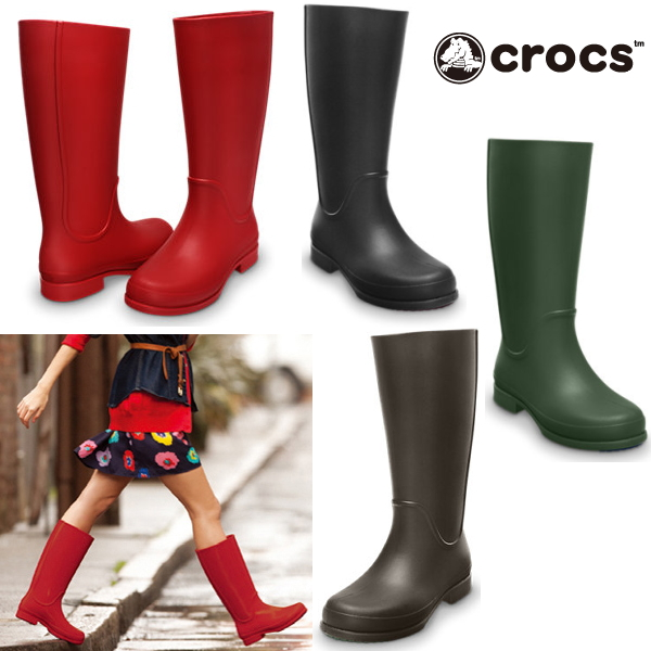 2992f3065bab8 Crocs women's head shoes long boots werry rain boots Womens crocs wellie  rain boot w 12476 black was already Christmas stocking women's kids boots-