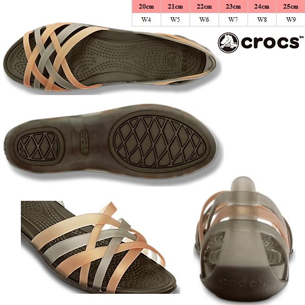 Crocs 凉鞋华莱士平妇女鳄鱼革条帮平底平女性 14121 女士平凉鞋轻量级黑色胸部傻笑女士凉鞋-