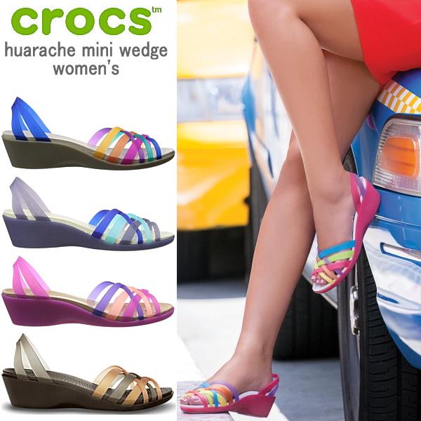 Crocs ladies Sandals Wallace mini wedge women women crocs huarache mini  wedge women's 14384 women's wedge Sandals light GLO! giggle sandal-