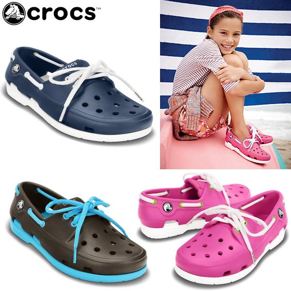 卡骆驰鞋孩子妇女的沙滩船鞋 crocs 沙滩线船鞋花边 GS 15914 鞋凉鞋休闲-