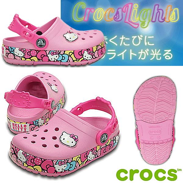 クロックス クロックスライツ ハローキティ リボン クロッグ CROCS Crocslights Hello Kitty Ribbon Clog 201262 光る! キッズサンダル 子供用 クロッグサンダル ●