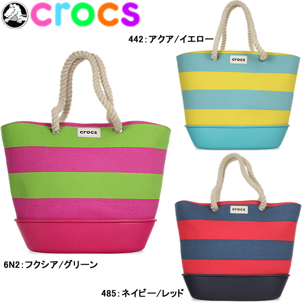 Crocus Striped Beach Tote Crocs 35128 Back Shoulder Bag