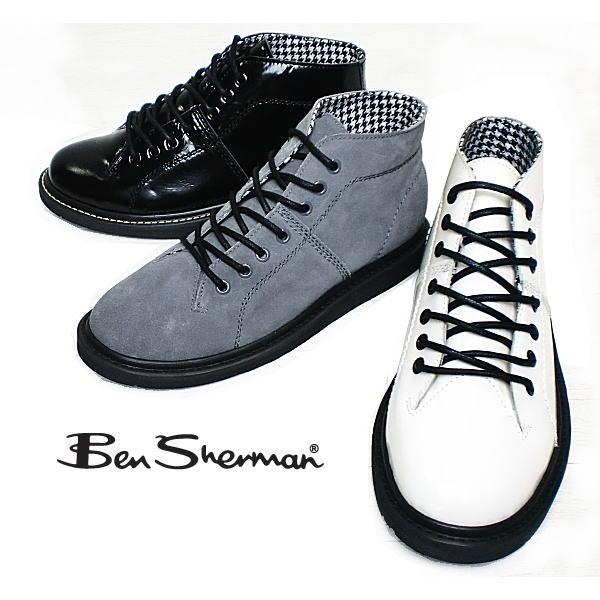 ベンシャーマン Ben Sherman Ben HOLBORN HUL048ロックテイスト溢れる メンズ レースアップブーツ 黒 白