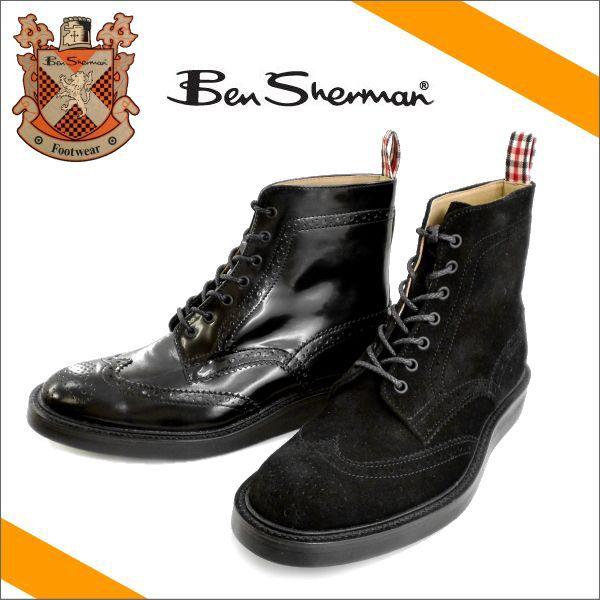 Ben Sherman KILBURN HIメンズ 本革 ブーツ メンズ カジュアル 黒