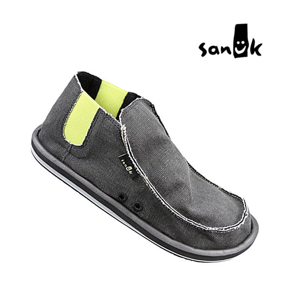 -Stepping on the heels wear as shoes, worn as Sandals: many celebrities favorite surf brand sanukOUTLAW 949-310 high-cut model BLK mens casual canvas slip-on Sandals sneakers