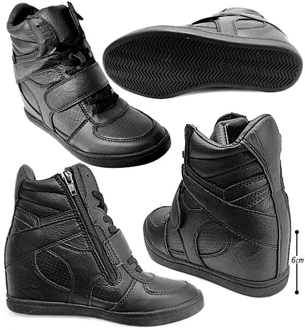 In her sneakers Womens high cut In Heel Laceup High Cut Sneakers lace-up heel up fat shoes bottom leg effect-