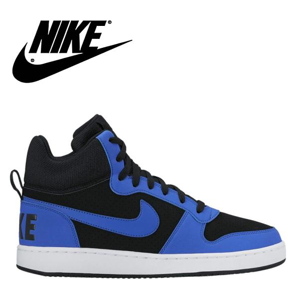 NIKE Nike COURT BOROUGH MID SL (coat Barlow mid SL) 844,885-002 black / Paramount blue men sneakers●
