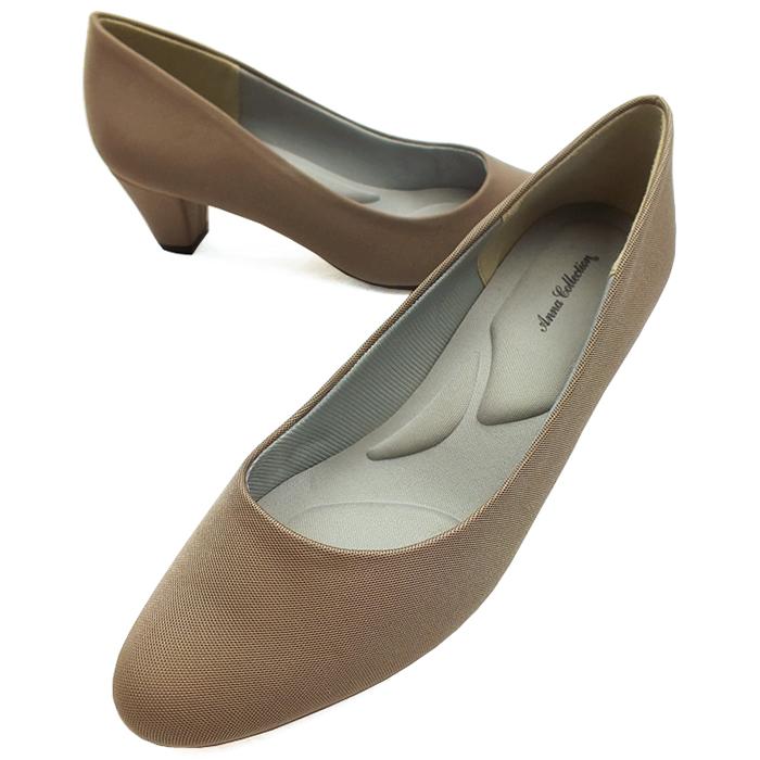 光沢感をおさえた上品な仕上がり ANNA COLLECTION 注目ブランド アンナコレクション ラウンドトゥプレーンパンプス オーク レディース 割引 撥水加工 太ヒール 機能性インソール 靴 5.0cmミドルヒール