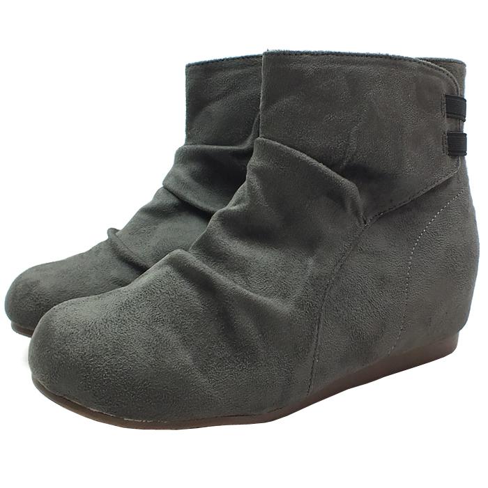 隠れ美脚効果のインヒール付きショートブーツ 送料無料 スエード素材のインヒールショートブーツ グレー 3.5cmインヒール 贈答 レディース 靴 国産品 ブーツ 超屈曲 ファスナー スエード 防滑 カジュアル ゴムベルト GY 美脚