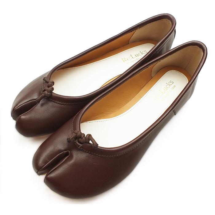 パンプス 足袋 フラットシューズ バレエシューズ ブラウン レディース 先割れ タビ tabi たび 歩きやすい 痛くない 足袋パンプス【BR】:Re