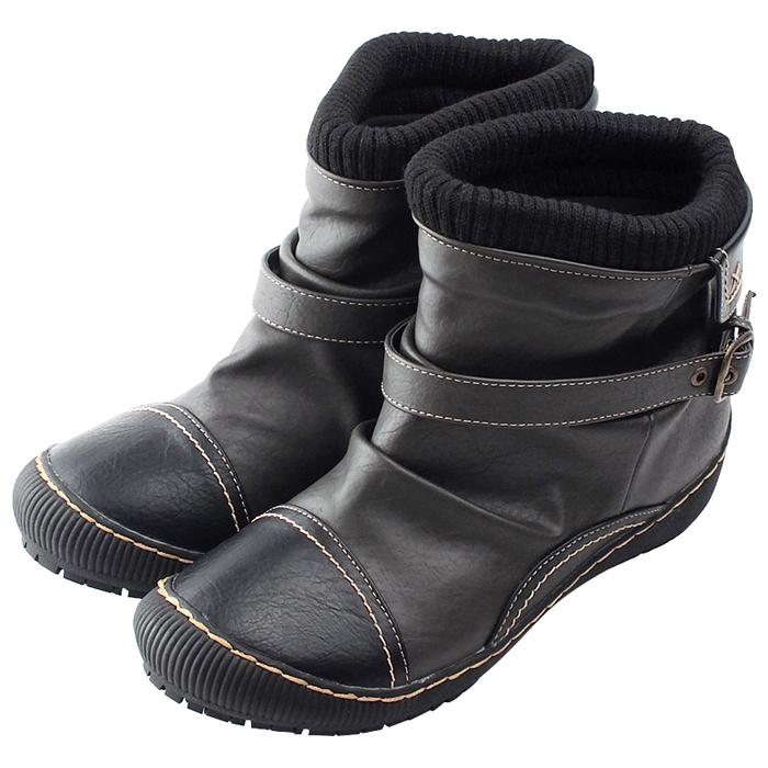ほっこり可愛いリブニットとベルトがアクセント WILSON LEE SPORTS ウィルソンリースポーツ カジュアルショートブーツ グレー ブラック 4.0cmミドルヒール レディース ブーツ 撥水 市販 3E幅広設計 売れ筋ランキング 防水 ベルト GY 低反発インソール リブニット 靴