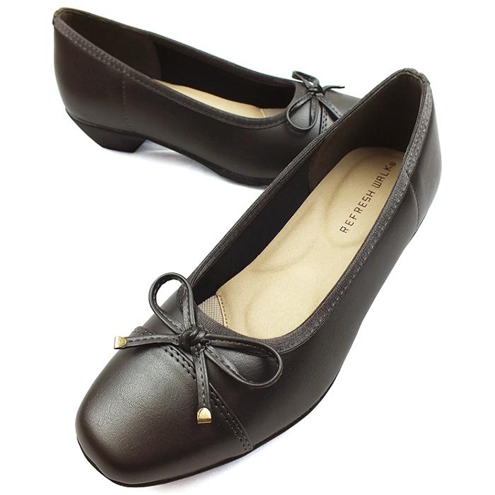 つま先の上品なリボンがオシャレ REFRESH WALK リフレッシュウォーク ラウンドトゥパンプス スティール 新作 3.5cmミドルヒール レディース GY 3E幅広設計 リボン 買取 機能性インソール ウェッジソール 靴