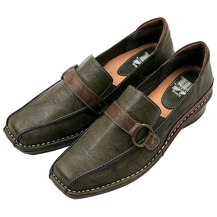 ベルトデザインの足に優しい快適カジュアルシューズ WILSON LEE 買収 ウィルソンリー ベルとデザインの飽きのこないデイリーカジュアルシューズ カーキ 3.5cmミドルヒール 3E レディース 痛くない 幅広設計 靴 本物 パンプス ウェッジソール