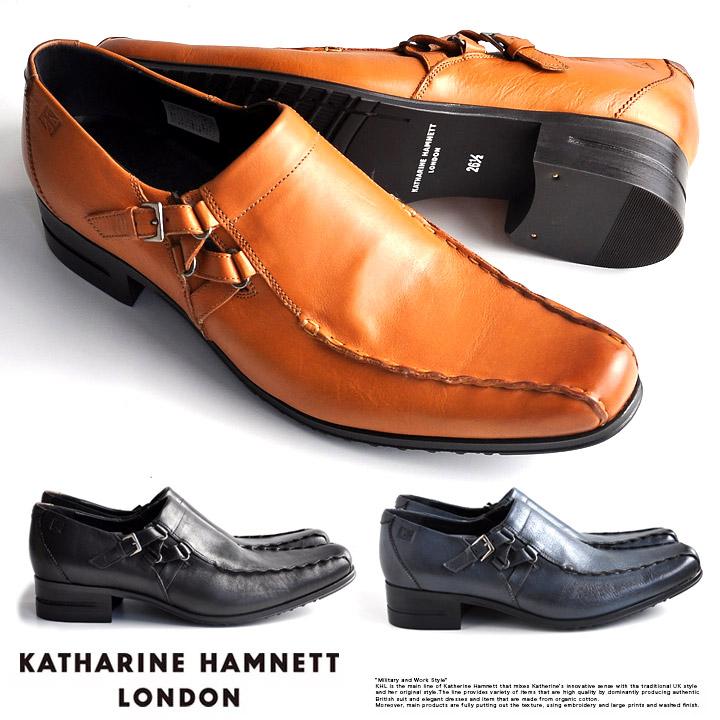 キャサリンハムネット 靴 メンズ ビジネスシューズ 本革 スリッポン ベルトストラップ KATHARINE HAMNETT LONDON 31554 SET