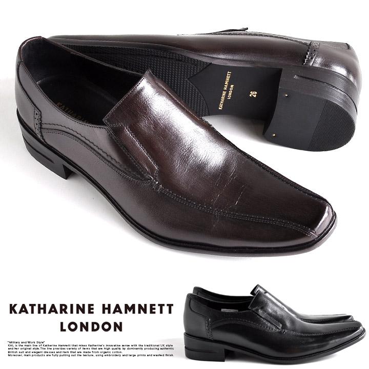 キャサリンハムネット 靴 メンズ ビジネスシューズ 本革 スリッポン 黒 茶 31580
