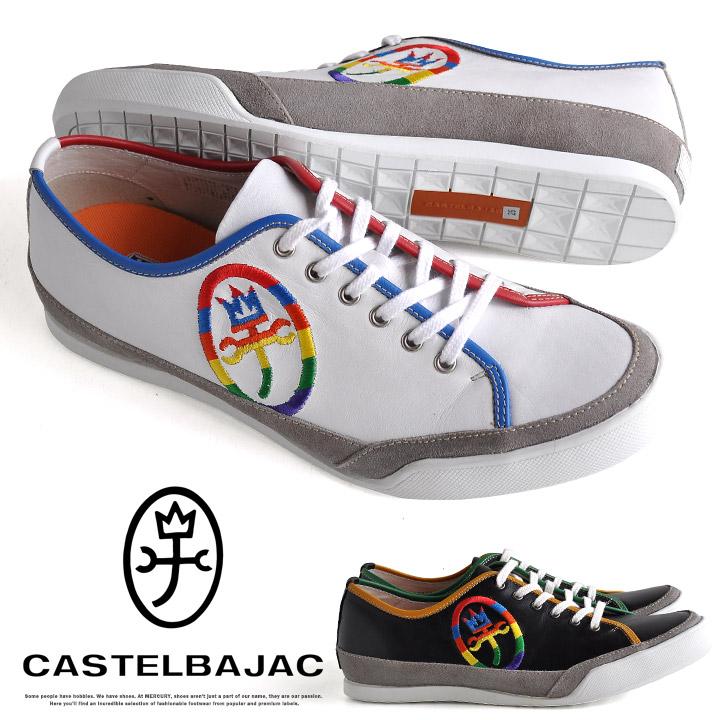 カステルバジャック 靴 メンズ シューズ スニーカー カジュアル レザー ロゴ 刺繍 本革 CASTELBAJAC 12195
