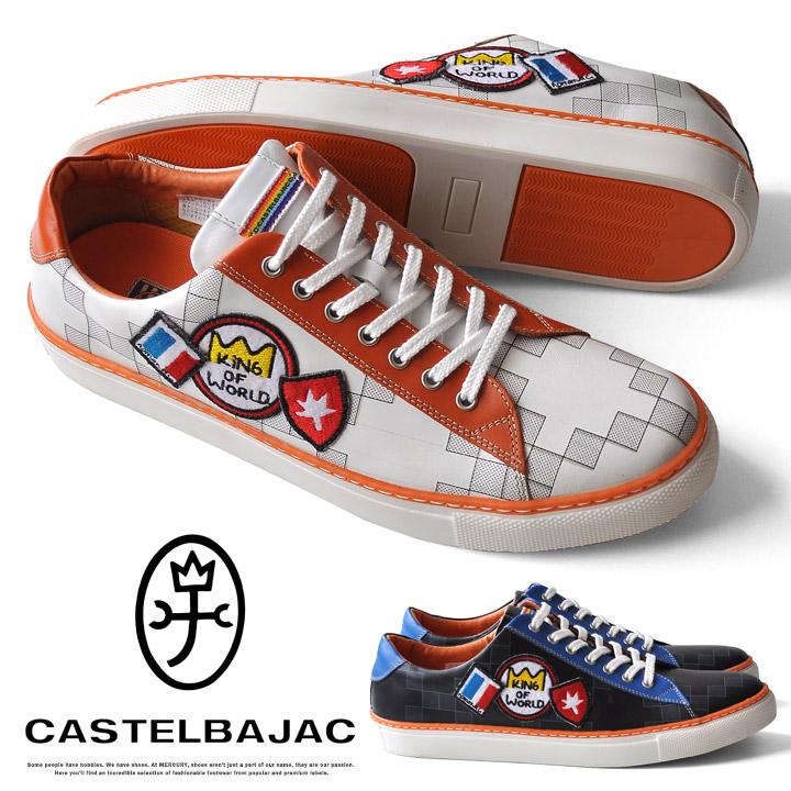 カステルバジャック 靴 メンズ シューズ レザー スニーカー ワッペン カジュアル本革 CASTELBAJAC 12211