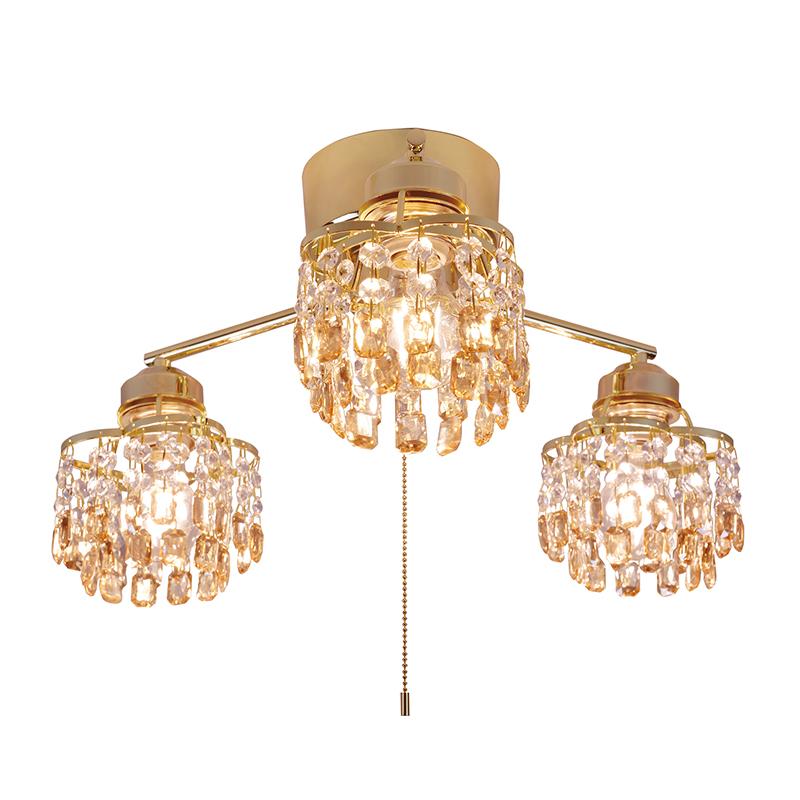 シーリングライト LED対応 アンバー クリスタルガラス 3灯 ライト シャンデリアライト リビング おしゃれ キラキラ 北欧 インテリア照明 (メーカー直送、代金引き不可)
