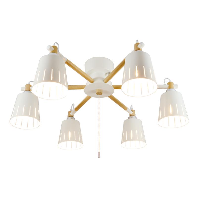 シーリングライト LED電球対応 6灯 ウッドシーリング シェード 木 ライト 白 ホワイト リビング ダイニング 食卓 リビング 居間 寝室 おしゃれ 北欧 インテリア照明 (メーカー直送、代金引き不可)