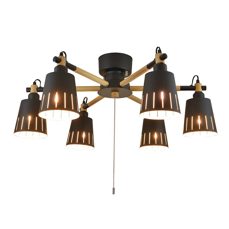 シーリングライト LED電球対応 6灯 ウッドシーリング シェード 木 ライト 黒 ブラック リビング ダイニング 食卓 リビング 居間 寝室 おしゃれ 北欧 インテリア照明 (メーカー直送、代金引き不可)