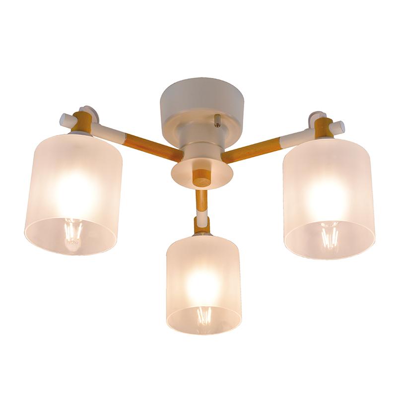 シーリングライト LED電球対応 3灯 ウッドシーリングライト ペンダントライト ガラス シェード 木 ライト リビング ダイニング 食卓 リビング 居間 寝室 ホワイト 白 おしゃれ 北欧 インテリア照明 (メーカー直送、代金引き不可)