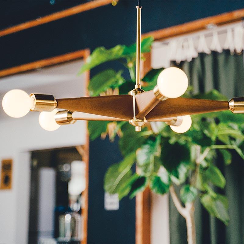 リンデンハースト ペンダントライト 木製 5灯 ペンダントランプ 天井照明 インターフォルム ペンダント照明 北欧 ランプ インテリアライト レトロ おしゃれ