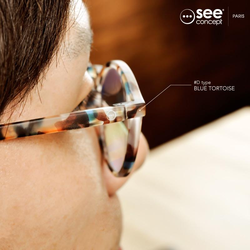 看到海概念 PC 眼鏡清潔不時尚的 PC 眼鏡日期眼鏡男人女人的概念