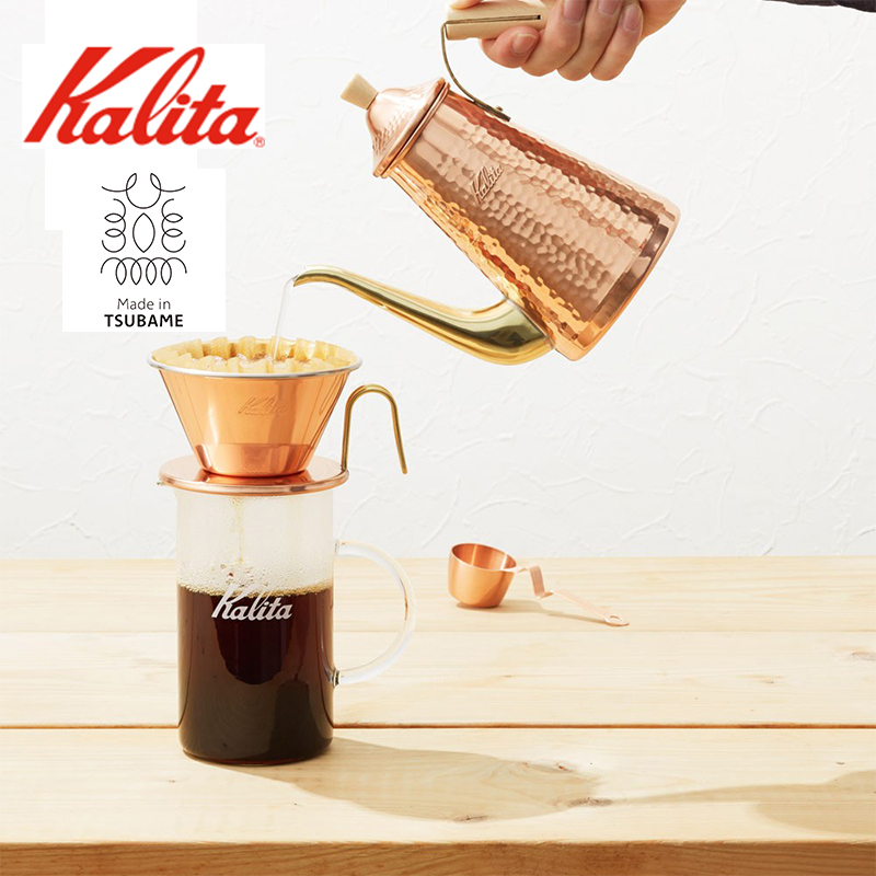 TSUBAME & kalita ドリップポット スリム 700CUW 銅 コパー カリタ 燕 日本製 コーヒーポット ウッドハンドル