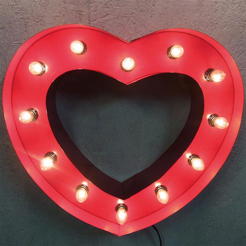 HEART SIGN ハートサイン レッド ブリキ製 電飾看板 照明 ライト アメリカン 壁掛け 壁飾り ダイナー ライブハウス かわいい おしゃれ インテリア(メーカー直送、代金引き不可)