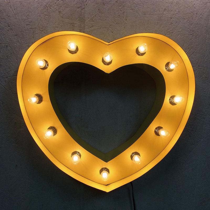 HEART SIGN ハートサイン イエロー ブリキ製 電飾看板 照明 ライト アメリカン 壁掛け 壁飾り ダイナー ライブハウス かわいい おしゃれ インテリア(メーカー直送、代金引き不可)