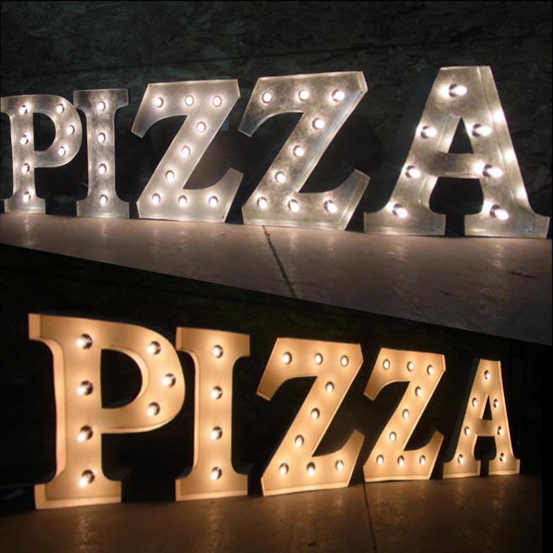 AMERICAN SIGN WITH LIGHT 「PIZZA 」 ネオンサイン 電飾看板 照明 ブリキ製 pizza ライト アメリカン 雑貨 ライブハウス 飲食店 看板 かっこいい おしゃれ インテリア (メーカー直送、代金引き不可)