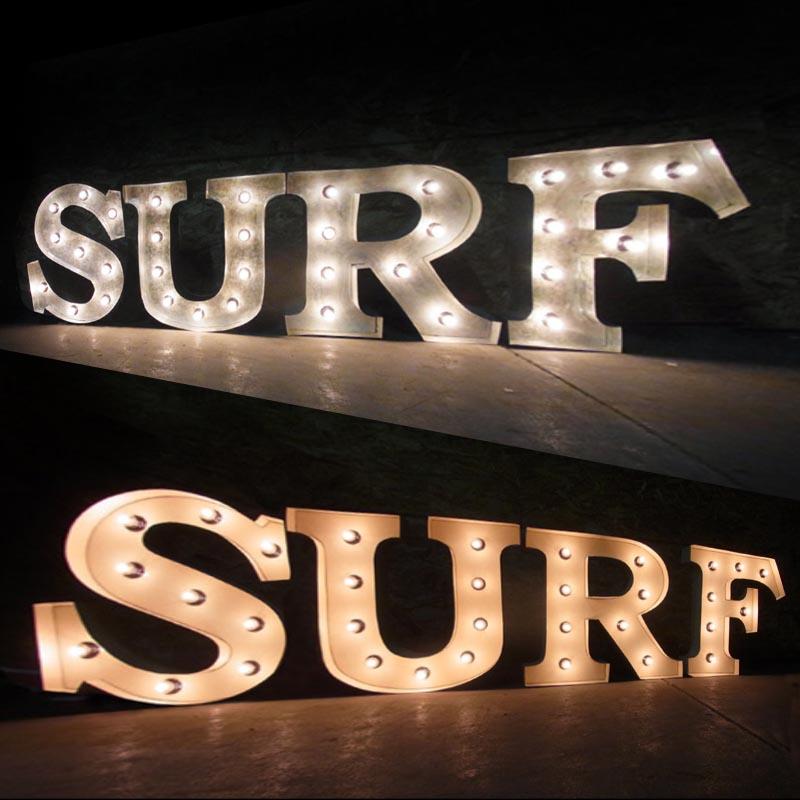 AMERICAN SIGN WITH LIGHT 「SURF」 ネオンサイン 電飾看板 照明 ブリキ製 surf ライト アメリカン 雑貨 ライブハウス 飲食店 看板 かっこいい おしゃれ インテリア (メーカー直送、代金引き不可)