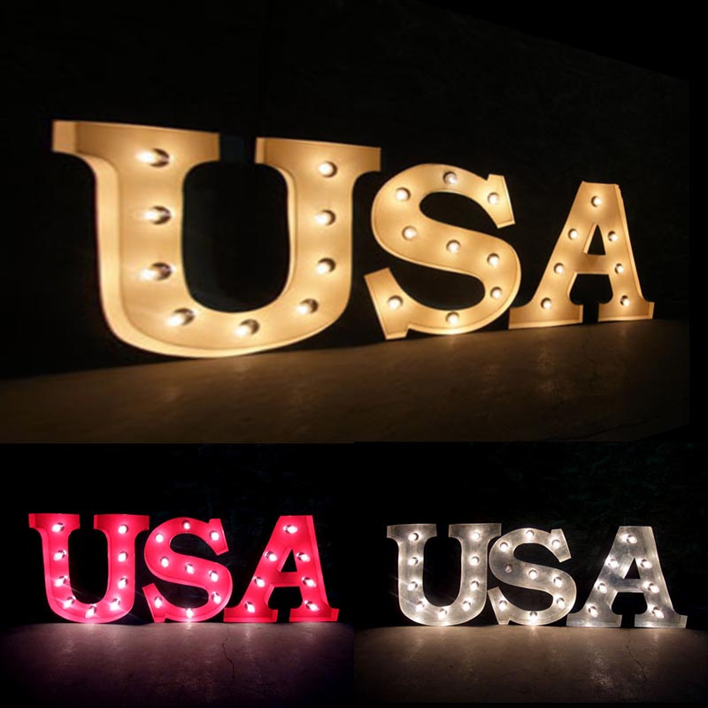 AMERICAN SIGN WITH LIGHT 「USA」 ネオンサイン 電飾看板 照明 ブリキ製 usa ライト アメリカン 雑貨 ライブハウス 飲食店 看板 かっこいい おしゃれ インテリア (メーカー直送、代金引き不可)