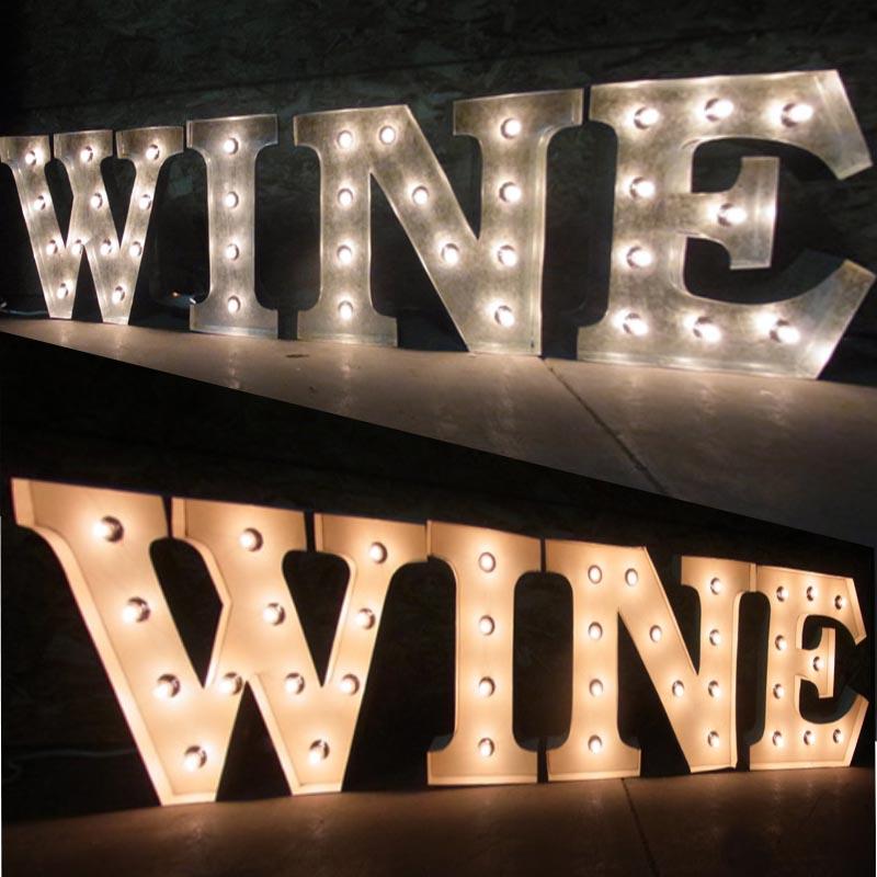 AMERICAN SIGN WITH LIGHT 「WINE」ネオンサイン 電飾看板 照明 ブリキ製 wine ライト アメリカン 雑貨 ライブハウス 飲食店 看板 かっこいい おしゃれ インテリア (メーカー直送、代金引き不可)