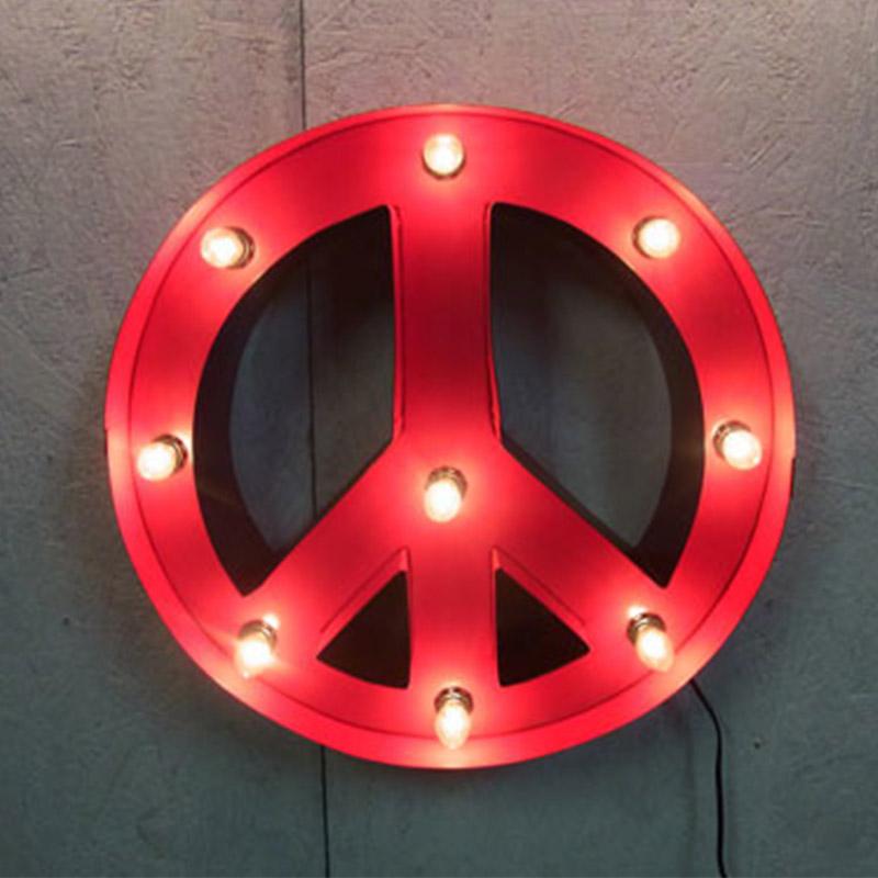 PEACE SIGN ピースサイン ピースライト レッド ブリキ製 電飾看板 照明 ライト アメリカンサイン 壁掛け 壁飾り ダイナー ライブハウス おしゃれ インテリア(メーカー直送、代金引き不可)