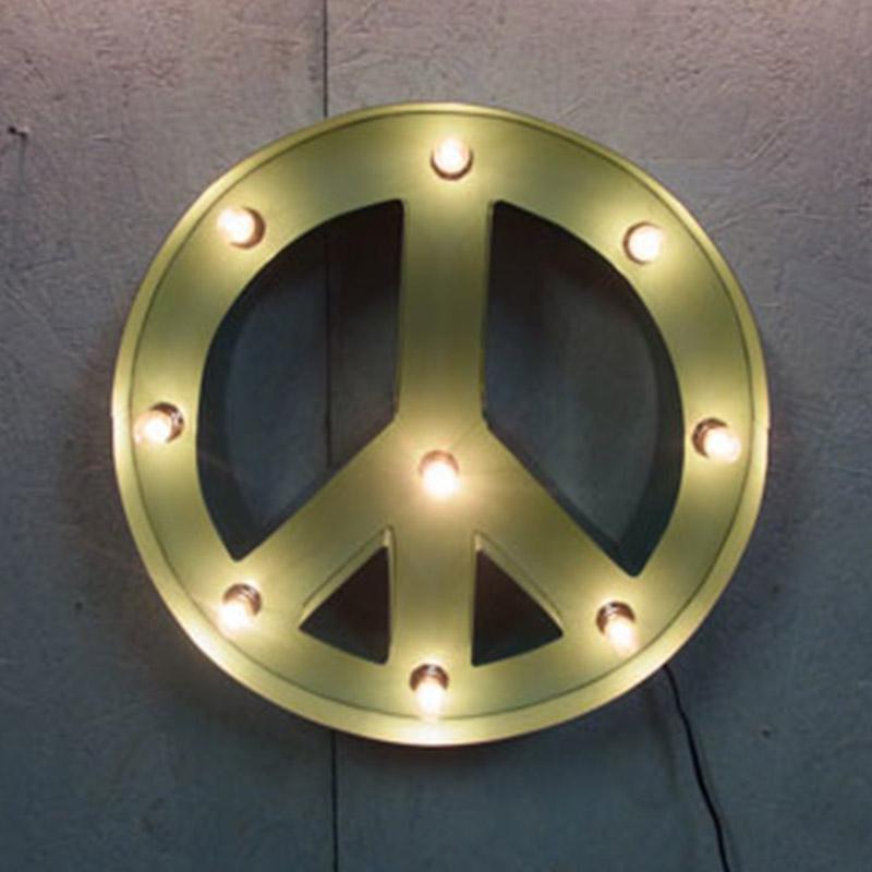 PEACE SIGN ピースサイン ピースライト ターコイズ ブリキ製 電飾看板 照明 ライト アメリカンサイン 壁掛け 壁飾り ダイナー ライブハウス おしゃれ インテリア(メーカー直送、代金引き不可)