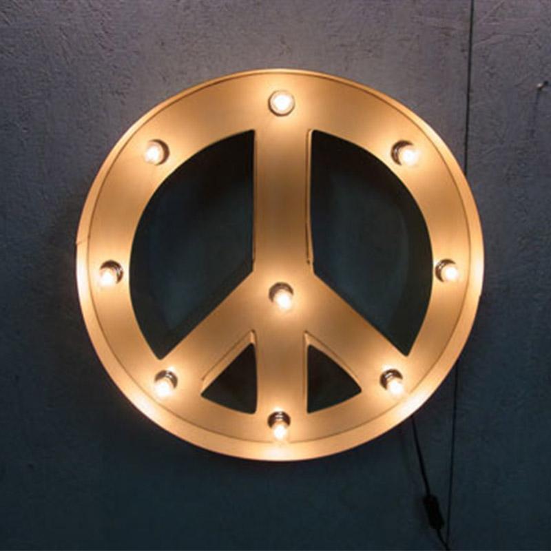 PEACE SIGN ピースサイン ピースライト ホワイト ブリキ製 電飾看板 照明 ライト アメリカンサイン 壁掛け 壁飾り ダイナー ライブハウス おしゃれ インテリア(メーカー直送、代金引き不可)