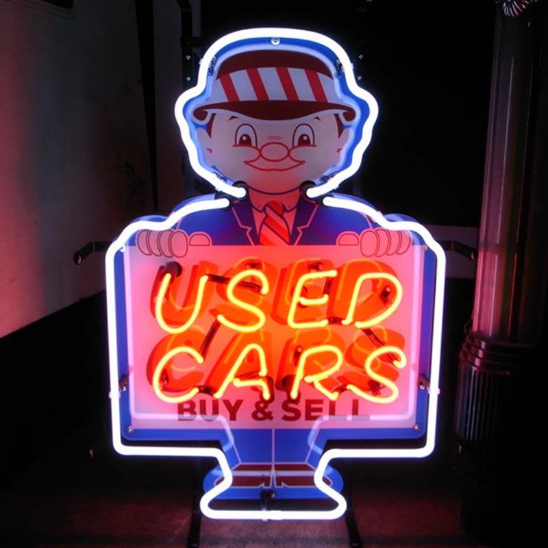 【USED CAR】 ネオンサイン ネオン管 ネオン 看板 電飾看板 照明 ガラス管 Neon Sign 屋内仕様 アイキャッチ 壁掛け アメリカン 雑貨 ディーラー かっこいい おしゃれ インテリア (メーカー直送、代金引き不可)