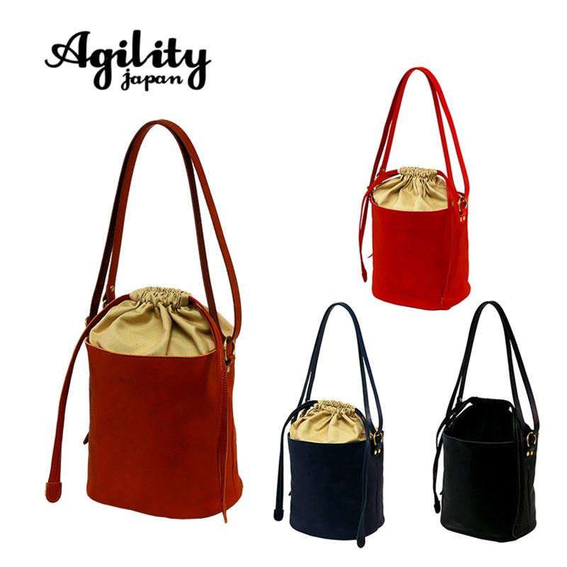 AGILITY affa アジリティ アファ 日本製 2way ショルダーバッグ バケツ型 巾着 ミニショルダー A5 レディース 牛革