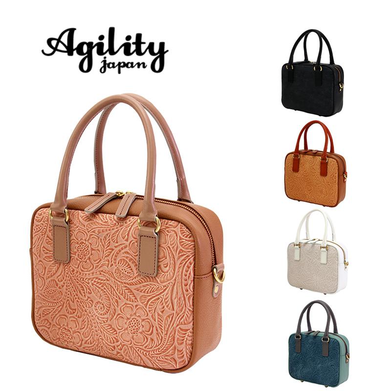 AGILITY affa アジリティ アファ 日本製 スクエア ミニボストンバッグ ハンドバッグ ショルダーベルト付 牛革 レディース