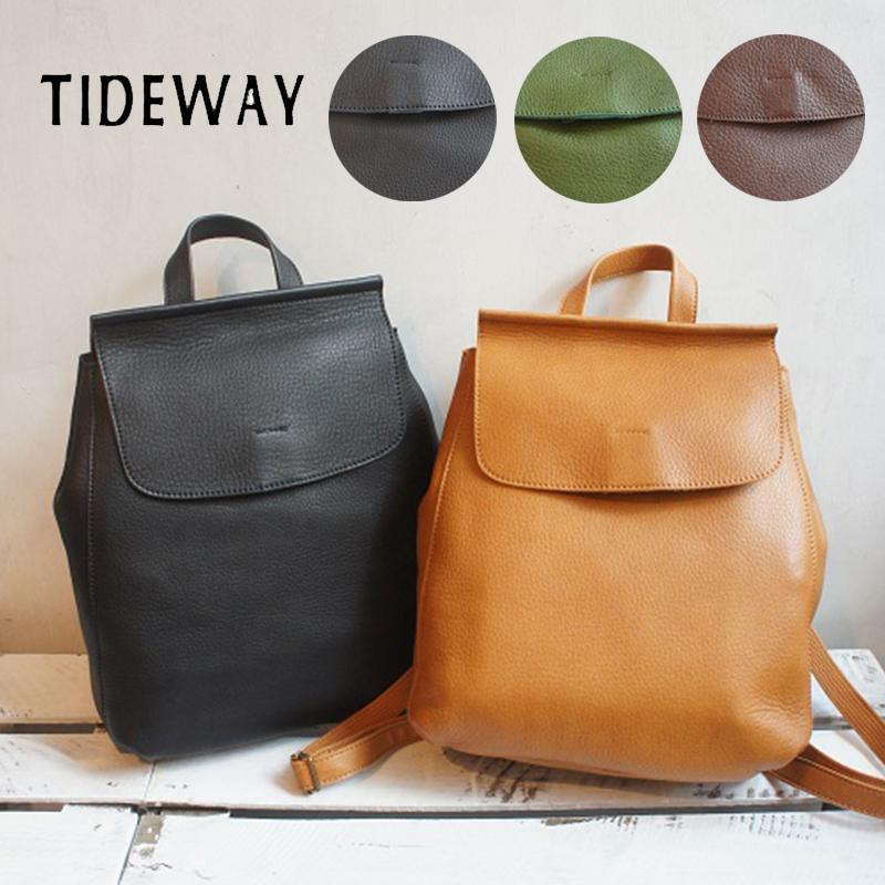 TIDEWAY 牛革 姫路レザー 日本製 リュックバッグ デイパック リュックサック レディース バッグ 鞄 カバン おしゃれ ヌメ革 上品