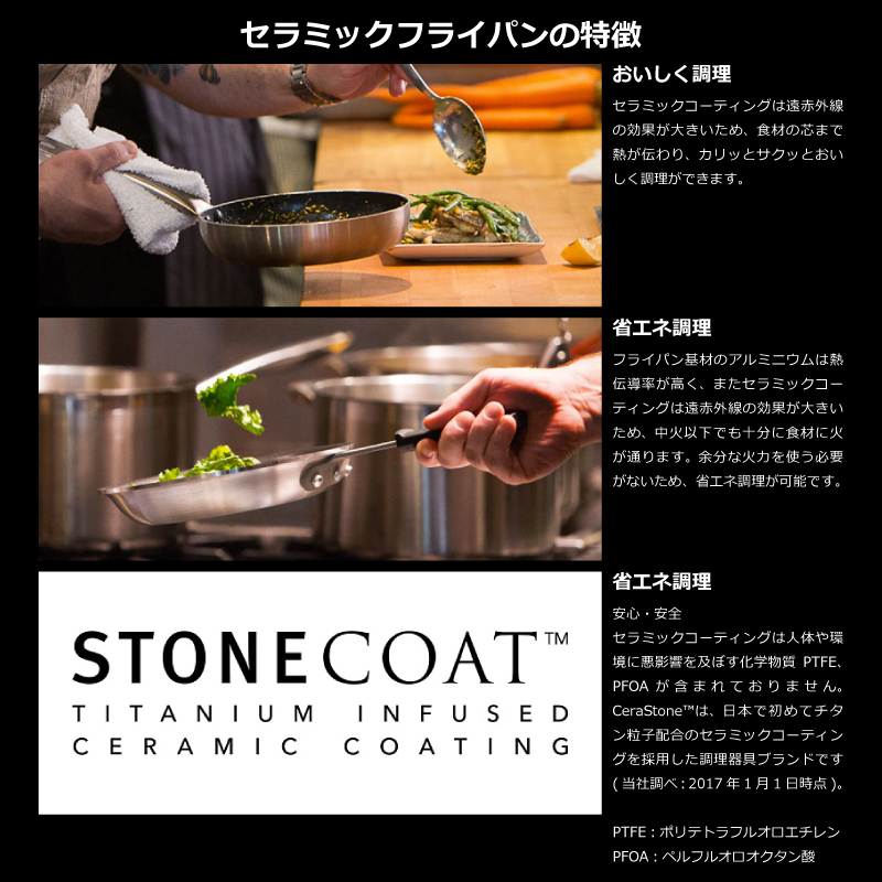 CeraStone セラストーン CeraComm セラコム チタン セラミックコーティングフライパン 26cm IH対応 ガンメタル セラミックフライパン フライパン