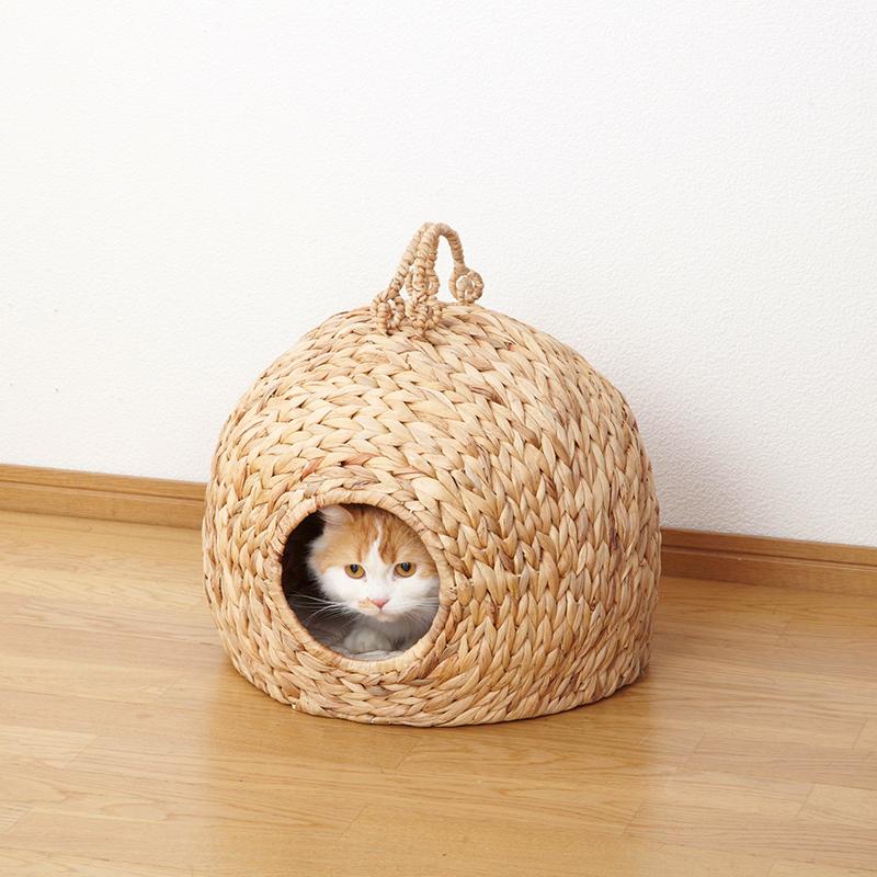 ペットちぐら 中 ねこ ちぐら 猫 ちぐら 猫ちぐら 犬 ペットハウス 小屋 カゴ ネコ 持ち手 わら 藁 小型犬 つぐら 寝床 キャットハウス(メーカー直送、代金引き不可)