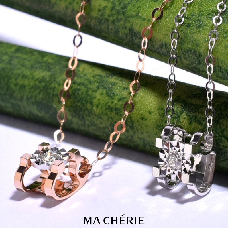 MA CHERIE マシェリ 天然 ダイヤモンド ネックレス レディース K18 Au750 / 0.03ct 刻印あり 白金 ホワイト ゴールド ピンクゴールド ギフト 彼女 クリスマス プレゼント 誕生日